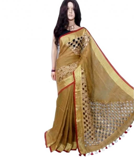 Pure Linen Cut Work Saree