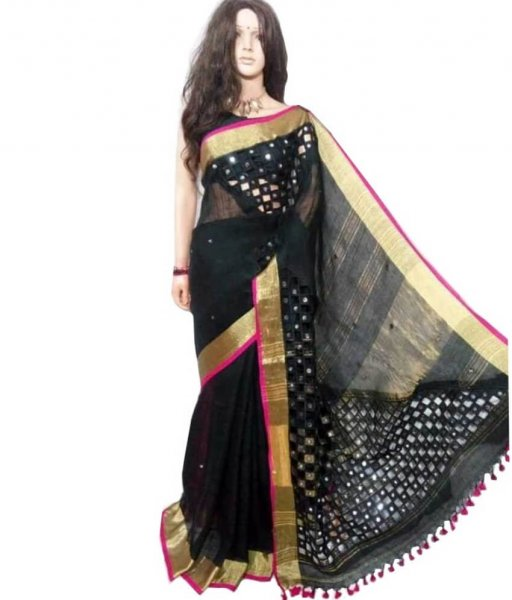 Black Linen Cut Work Saree