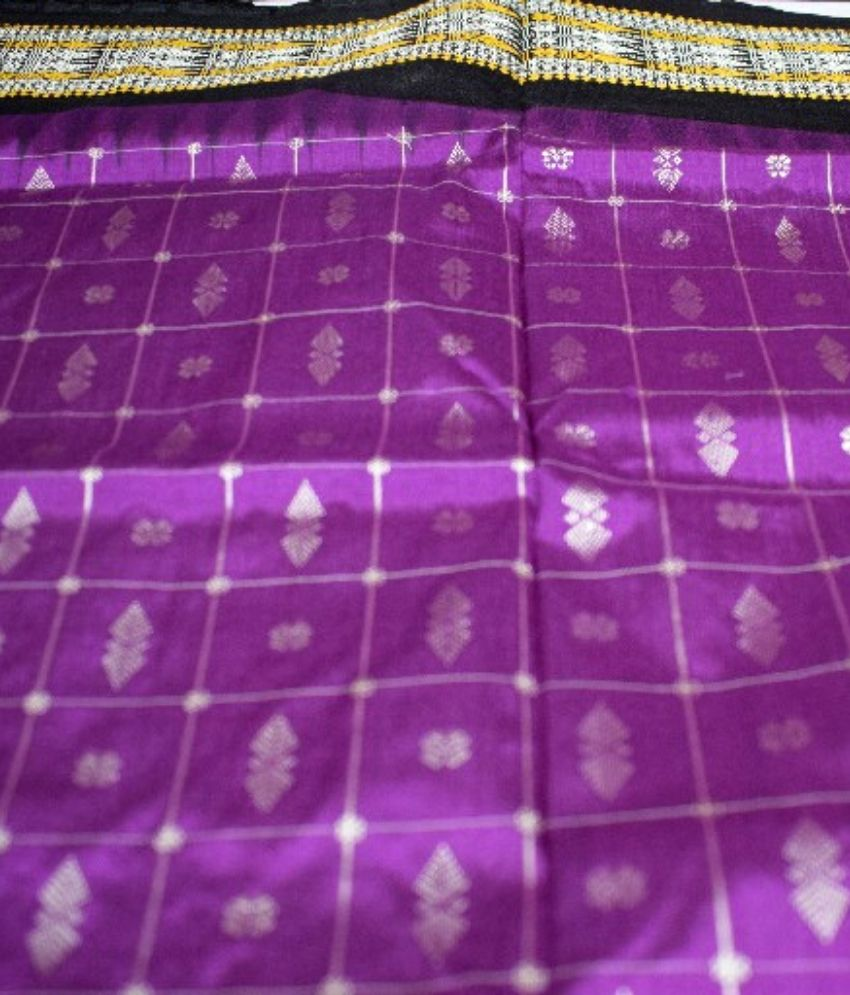 Purple Bomkai Silk Saree