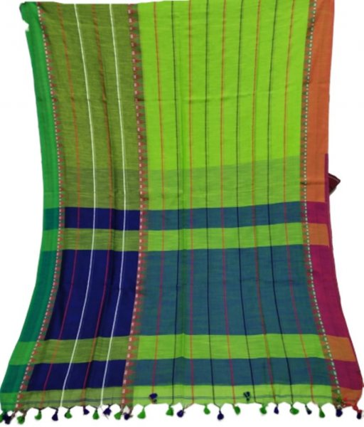 Green Khadi Cotton Saree