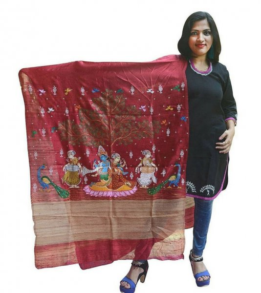 Pattachitra Hand Painted Tussar Silk Dupatta
