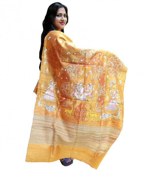 Yellow Pattachitra Hand Painted Dupatta