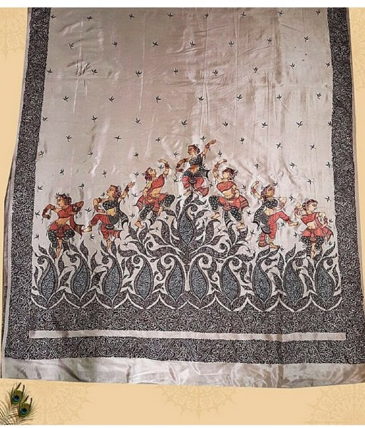 Black Painted Cream Silk Pattachitra Saree