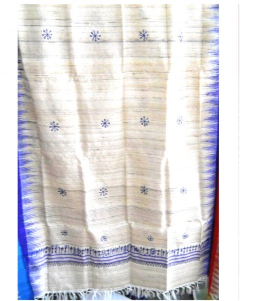 White & Blue Tussar Silk Stole