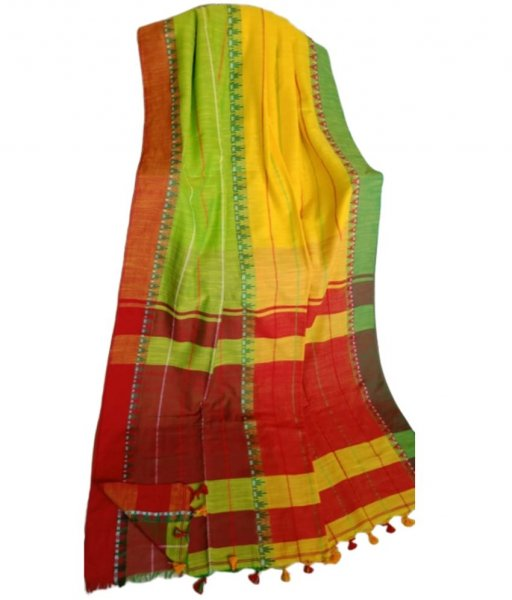 Yellow & Green Khadi Cotton Saree