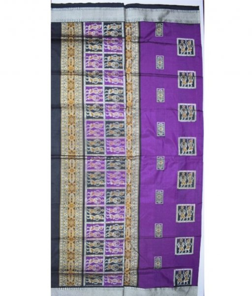 Tribal designed Bomkai Silk Saree