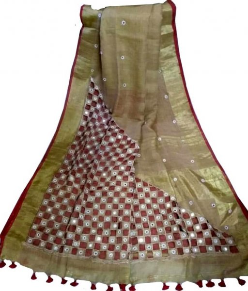 Brown Linen Cut Work Saree