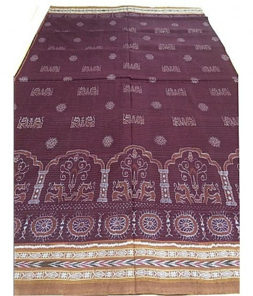 Maroon Sambalpuri Cotton Saree