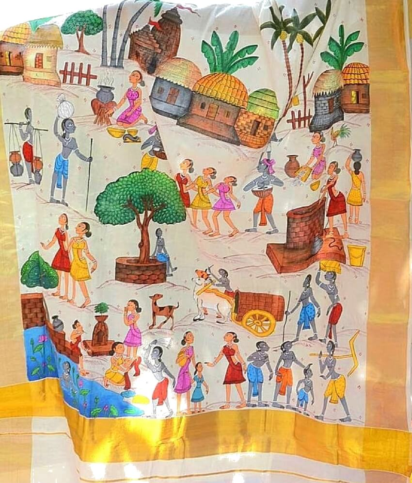 Village Life Pattachitra saree