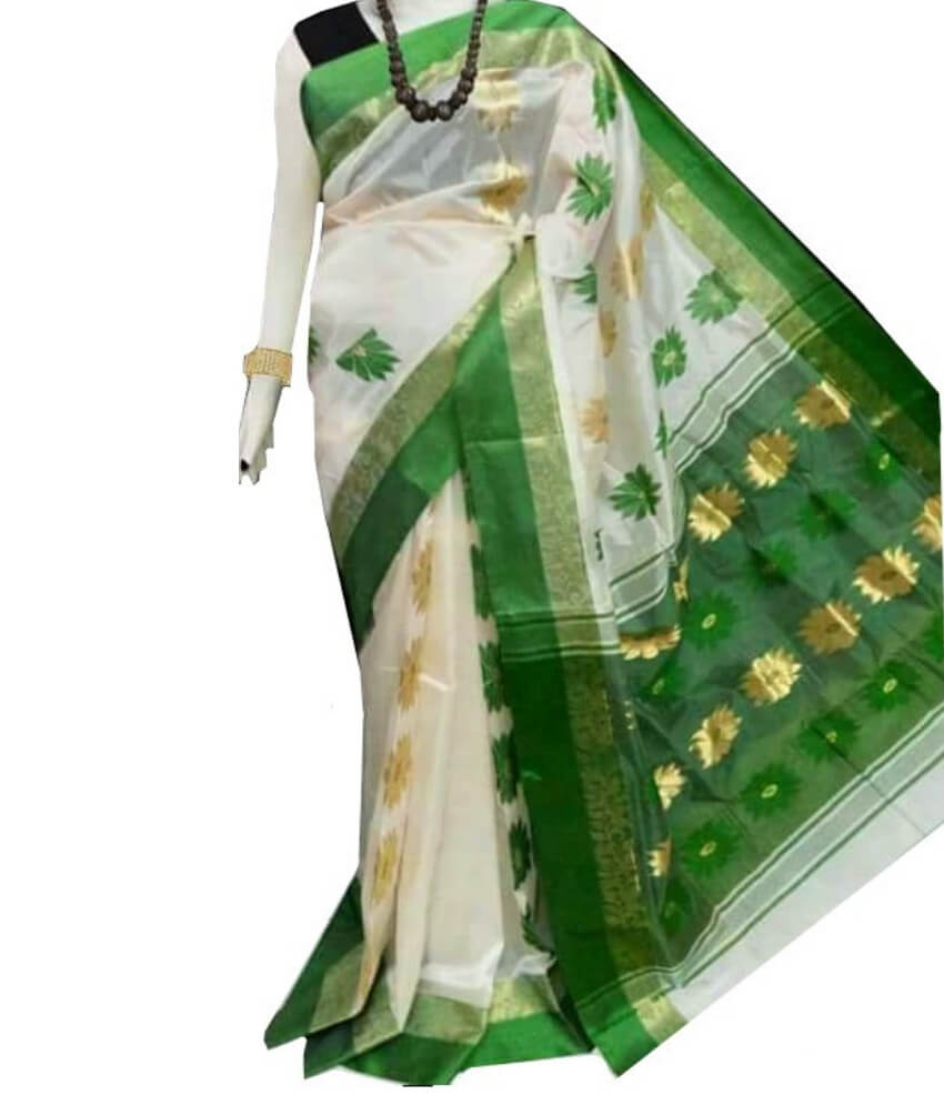 White & Green Zari Tussar Silk Saree