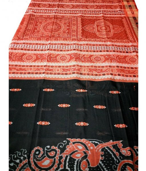 Black Orange Ikat Saree