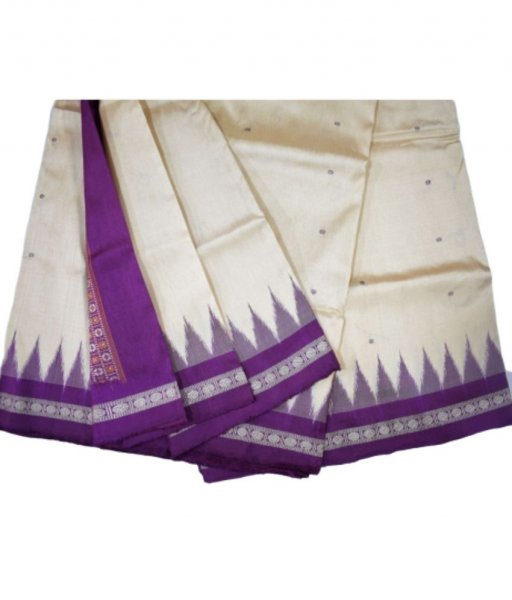White Bomkai Silk Saree