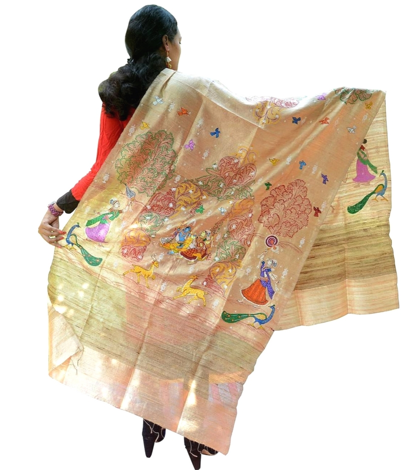 Cream Pattachitra Tussar Silk Dupatta