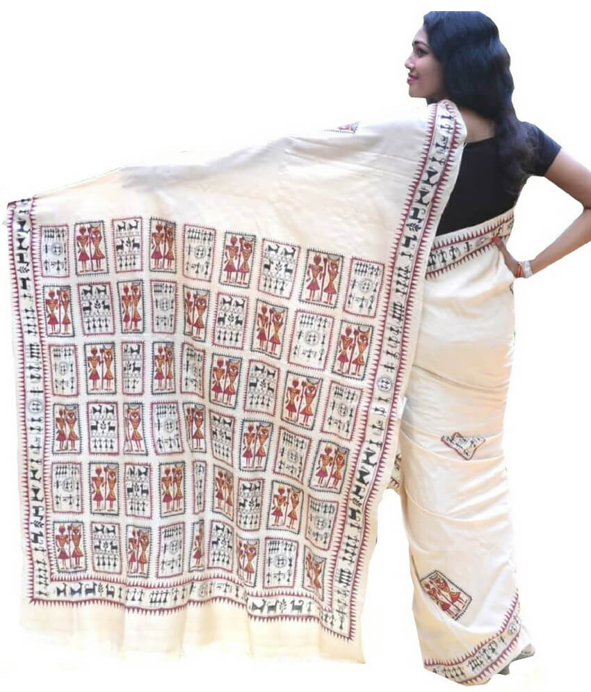 Cream Soura Painting Saree