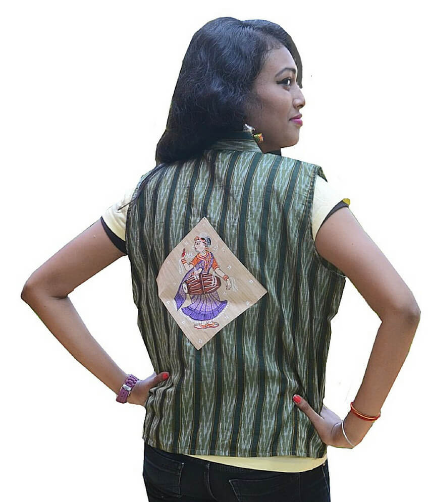 Ikat Double Colour Hand Painted Half Jacket