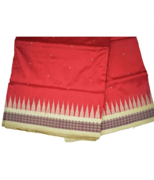 Red Bomkai Ikat Silk Saree