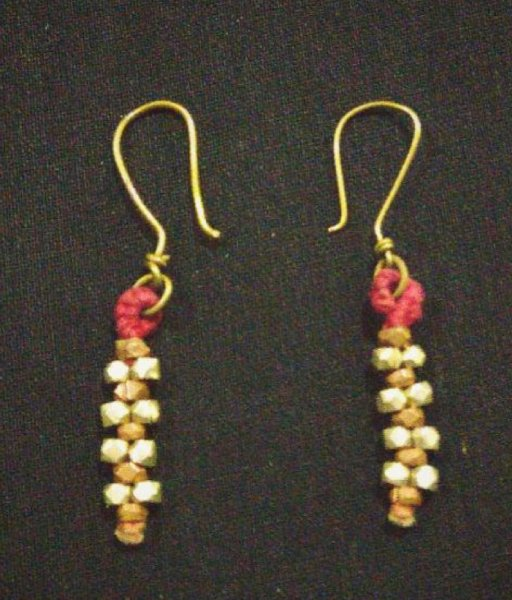 Gold Dhokra Beads Earrings