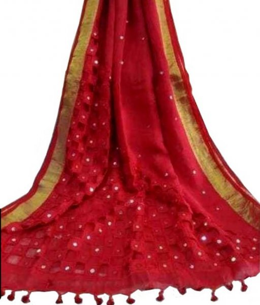 Pure Linen Red Cut Work Saree