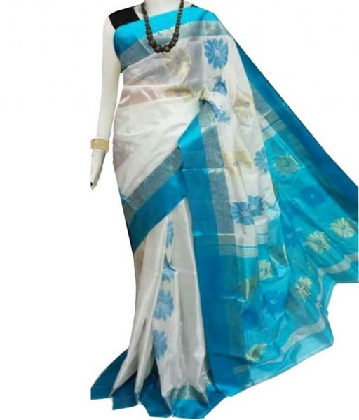 White & Sky Zari Tussar Silk Saree