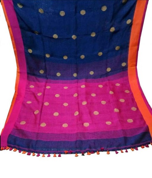 Blue & Pink Buti Ball Linen Saree