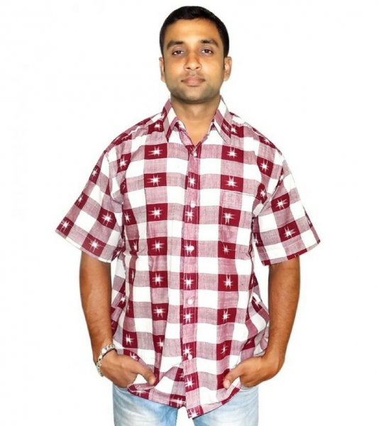 White Maroon Checked Cotton Sambalpuri Shirt