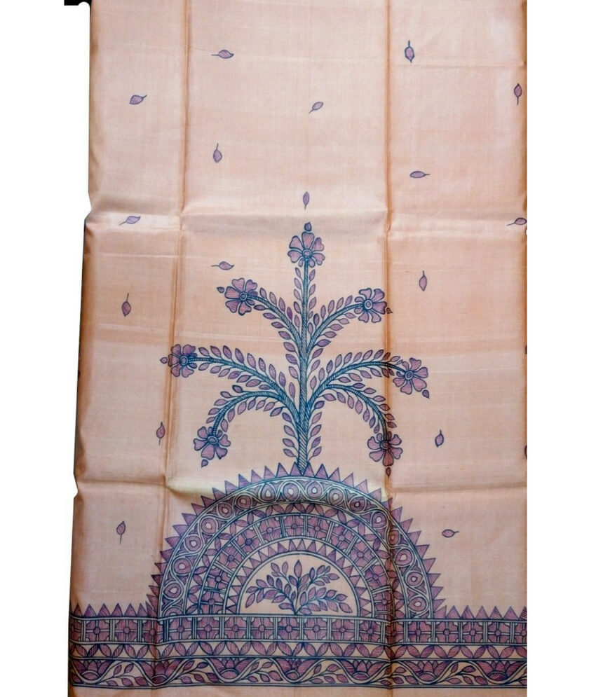Tree Pattachitra Painting On A Silk Saree