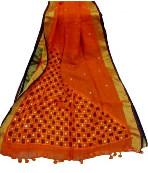 Red Linen Cut Work Saree