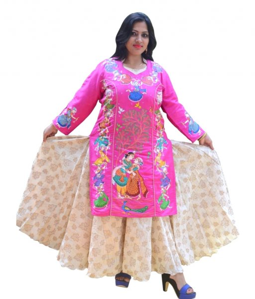 Pink Tussar Silk Pattachitra Painting Kurti