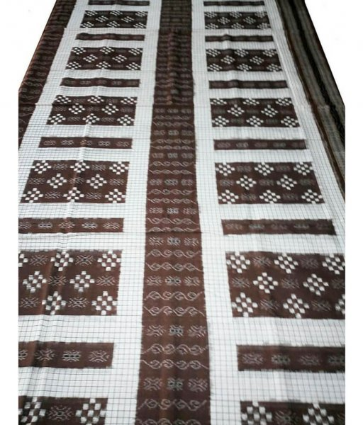 Brown Pasapali Cotton Ikat Saree