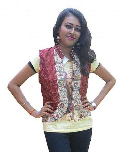 Maroon Soura Painted half Jacket