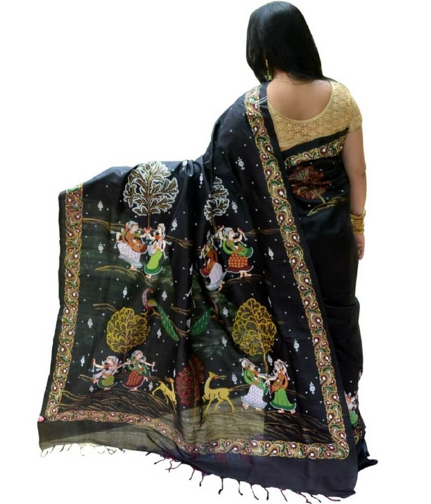 Raas Leela Pattachitra Hand Painted Silk Saree