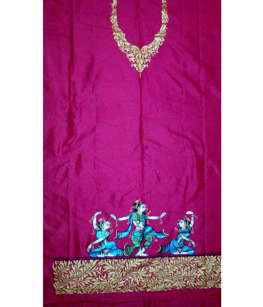 Pink Pattachitra Tussar Silk Suit piece