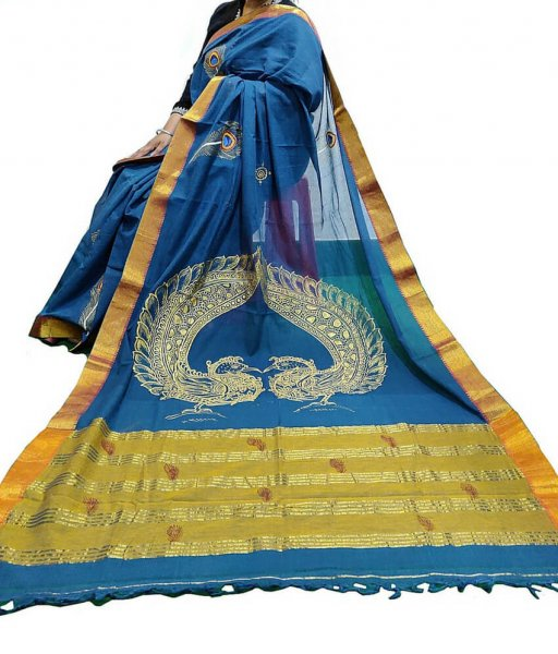 Peacock Hand Painted Pattachitra Saree