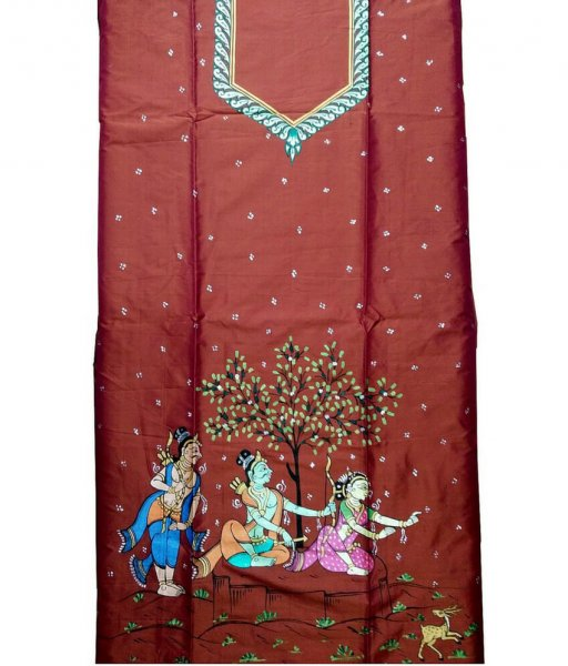 Brown Pattachitra Tussar Silk Suit Piece