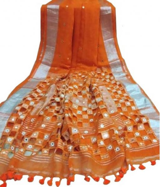 Orange Cotton Silk Cut Work Saree
