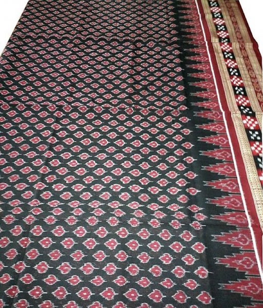 Traditional Black Sambalpuri Cotton Saree