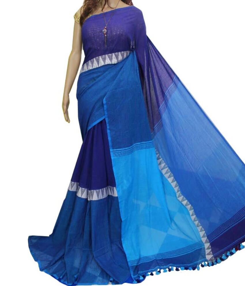 Madhyamoni Blue Khadi Cotton Saree