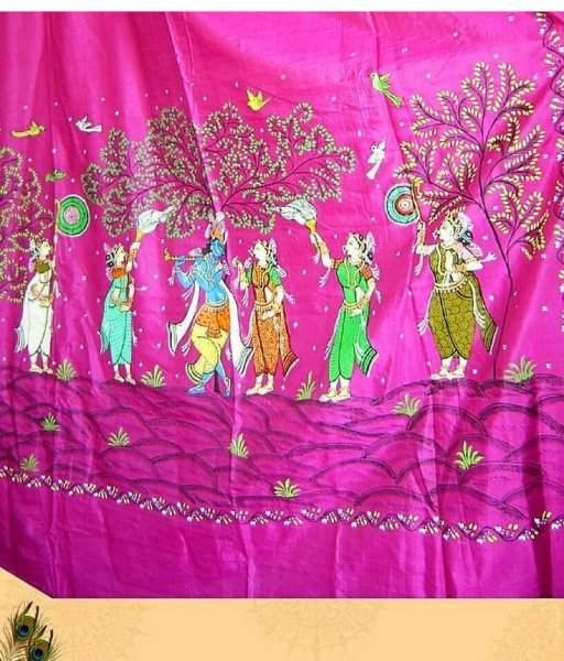 Pink Pattachitra Saree