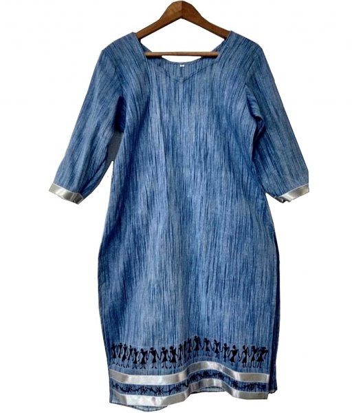 Tribal Painting Blue Denim Kurti