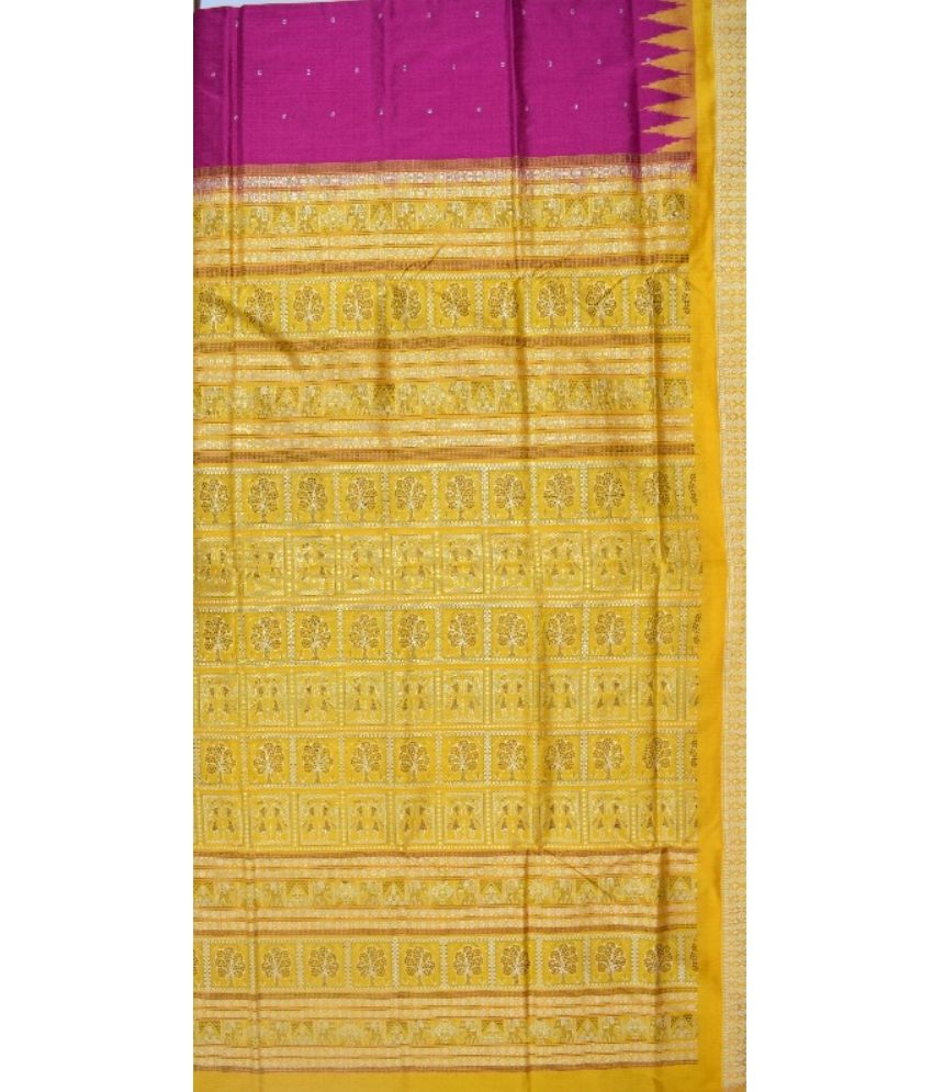 Pink Bomkai Silk Saree