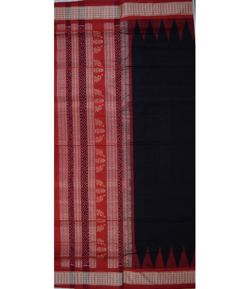 Black & Red Bomkai Silk Saree