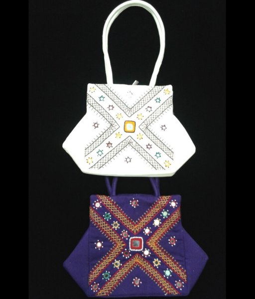 White & Blue Applique Bag