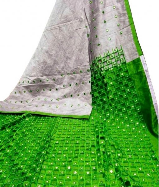 Grey & Green Cotton Silk Cut Work Saree