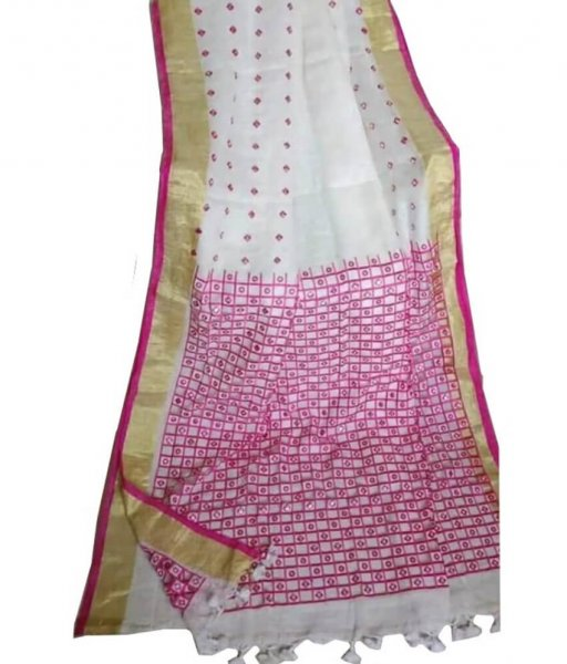White & Pink Linen Cut Work Saree