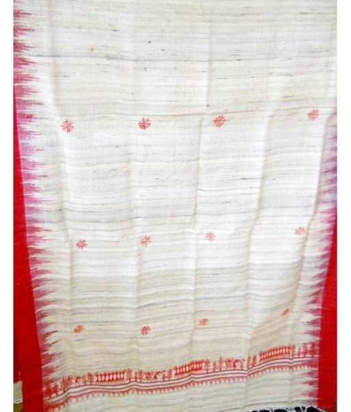 White & Red Tussar Silk Stole