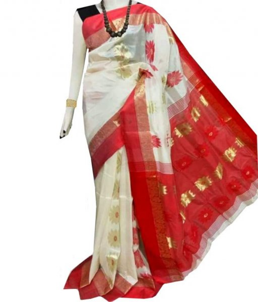 White & Red Zari Tussar Silk Saree