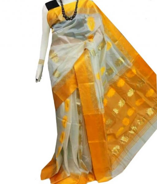 White & Yellow Zari Tussar Silk Saree