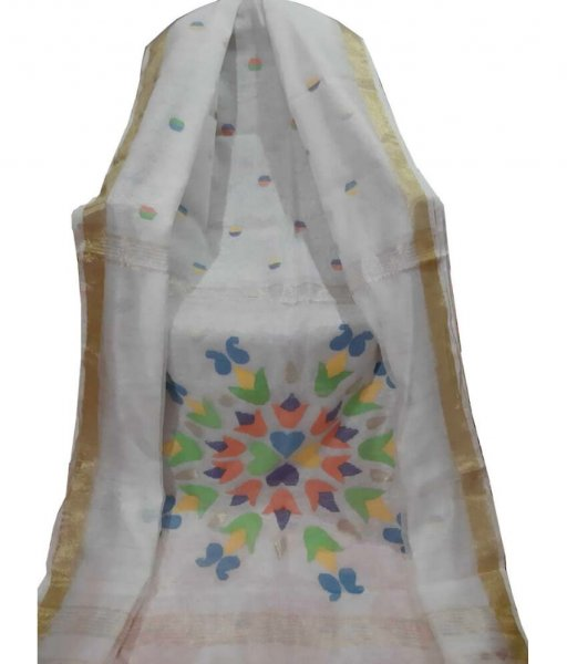 White Resham Silk Saree