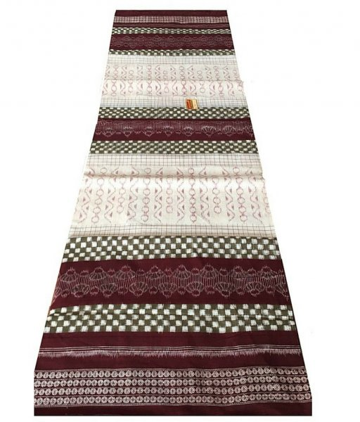 White Sambalpuri Cotton Saree