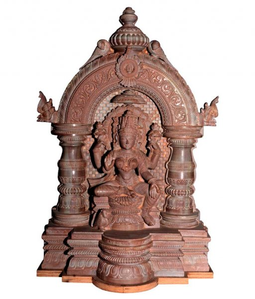 Pink Stone Carving Laxmi Statue